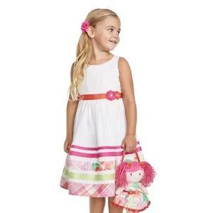 Girls Border Striped Dress - Fairy Blossom